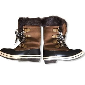 London Fog Leather and Faux Fur Winter Duck Boot